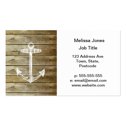 Nautical Anchor on wood graphic Business Card Templates