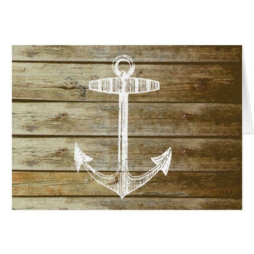Nautical Anchor on wood graphic Card