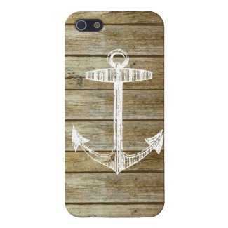 Nautical Anchor on wood graphic iPhone 5 Covers