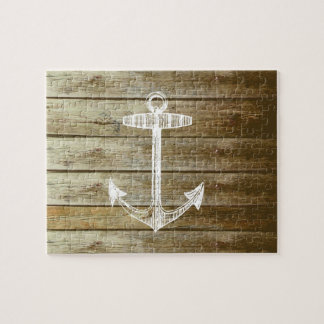 Nautical Anchor on wood graphic Jigsaw Puzzle