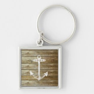 Nautical Anchor on wood graphic Keychain