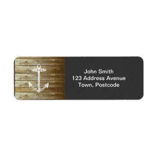 Nautical Anchor on wood graphic Custom Return Address Labels
