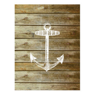 Nautical Anchor on wood graphic Postcard