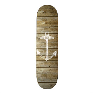 Nautical Anchor on wood graphic Skate Boards