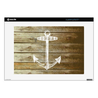 "Nautical Anchor on wood graphic 15"" Laptop Decal"