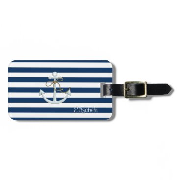 Nautical  Anchor OnNavy Blue Stripes-Personalized Bag Tag