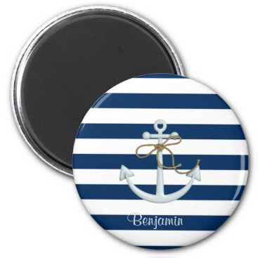 Nautical  Anchor OnNavy Blue Stripes-Personalized Magnet