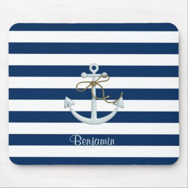 Beach Themed Nautical  Anchor OnNavy Blue Stripes-Personalized Mouse Pad
