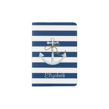 Nautical  Anchor OnNavy Blue Stripes-Personalized Passport Holder