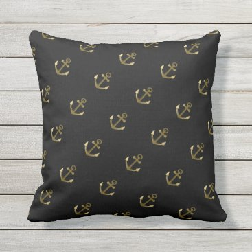 Beach Themed Nautical Anchor Pattern Black and Gold Throw Pillow
