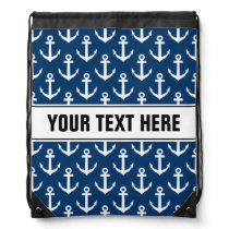 Nautical anchor pattern drawstring backpack bag