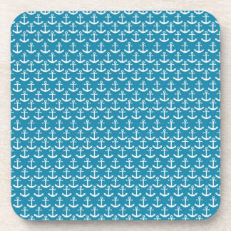 Nautical Anchor Pattern in Blue Coaster