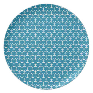Nautical Anchor Pattern in Blue Dinner Plate