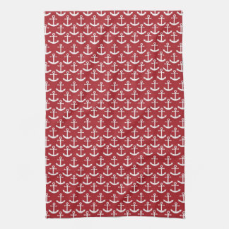 Nautical Anchor Pattern in Red Kitchen Towel