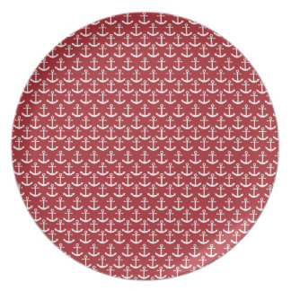 Nautical Anchor Pattern in Red Melamine Plate