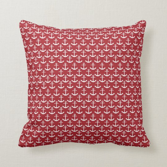 Nautical Anchor Pattern in Red Throw Pillow