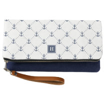 Nautical Anchor Pattern Monogram Clutch