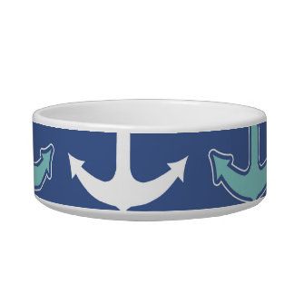 Nautical Anchor Pattern Navy Blue and Teal Bowl