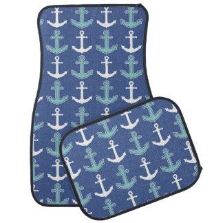 Nautical Anchor Pattern Navy Blue and Teal Car Mat
