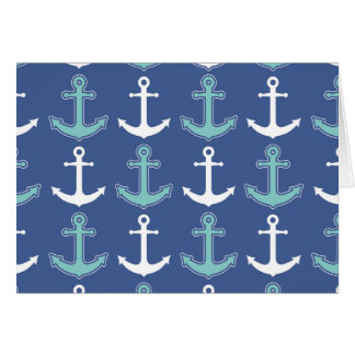 Nautical Anchor Pattern Navy Blue and Teal Card