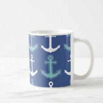 Nautical Anchor Pattern Navy Blue and Teal Coffee Mug