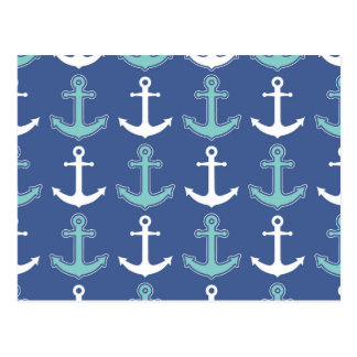 Nautical Anchor Pattern Navy Blue and Teal Postcard
