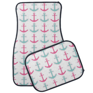 Nautical Anchor Pattern Pink and Aqua Car Mat