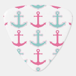 Nautical Anchor Pattern Pink and Aqua Guitar Pick