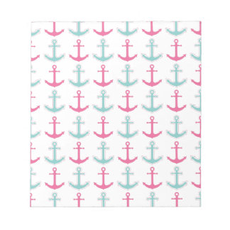 Nautical Anchor Pattern Pink and Aqua Note Pads