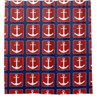 Nautical Anchor Pattern Red White and Navy Blue Shower CurtainRed White Blue Shower Curtains   Zazzle. Red And Blue Shower Curtain. Home Design Ideas