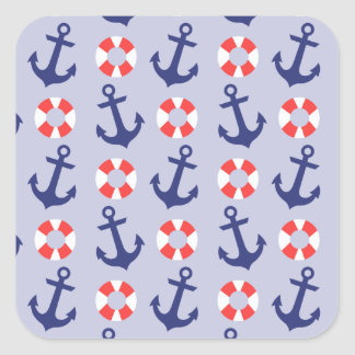 Nautical Anchor Pattern Square Sticker