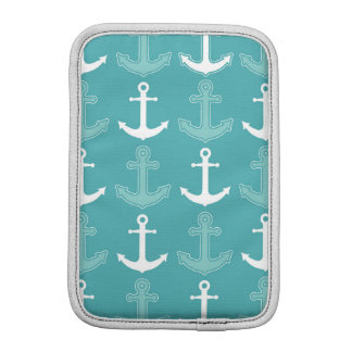Nautical Anchor Pattern Teal Blue and White iPad Mini Sleeves