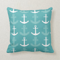 Nautical Anchor Pattern Teal Blue and White Throw Pillow