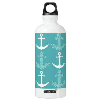 Nautical Anchor Pattern Teal Blue and White Water Bottle