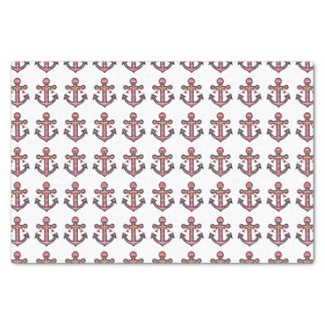 Beach Themed Nautical Anchor Pattern with Red & White Stripes Tissue Paper