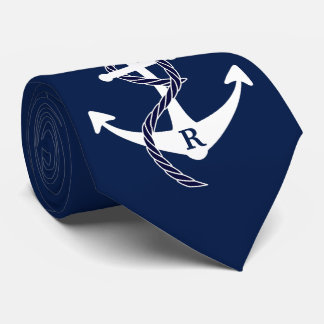 Nautical Anchor Personalized Initial Monogram Tie