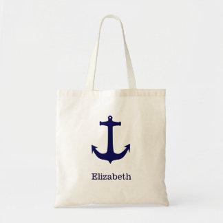 Nautical Anchor Personalized Name Monogram Tote Bag