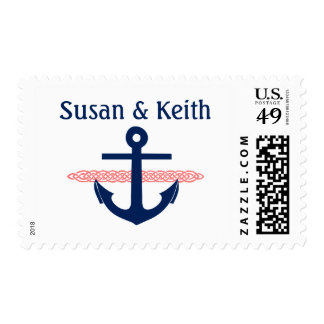 Nautical Anchor Personalized Wedding Invitation Postage Stamp
