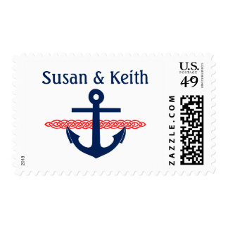 Nautical Anchor Personalized Wedding Stamp Red