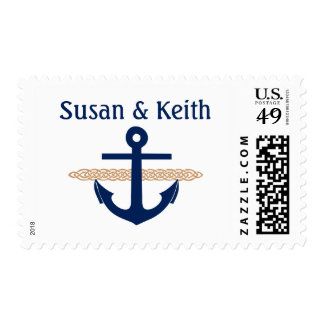 Nautical Anchor Personalized Wedding Stamp Tan