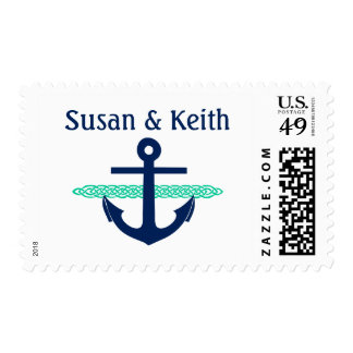 Nautical Anchor Personalized Wedding Stamp Teal