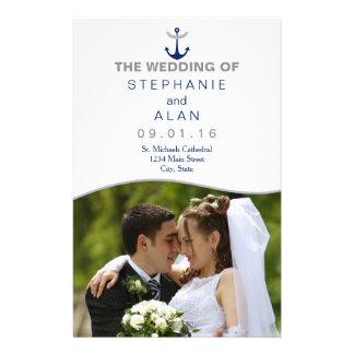 Nautical Anchor Photo Wedding Programs