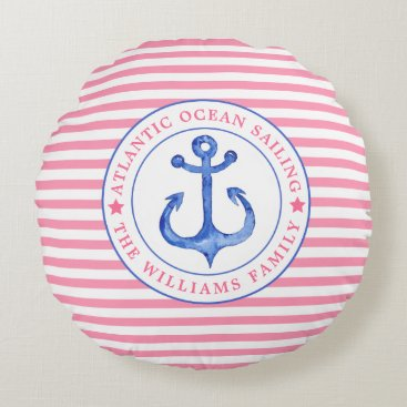 Beach Themed Nautical Anchor Pink Striped Personalized Pillow