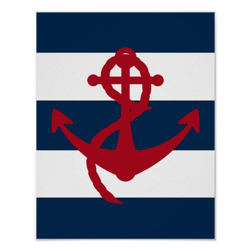 Nautical Anchor print red, navy and white
