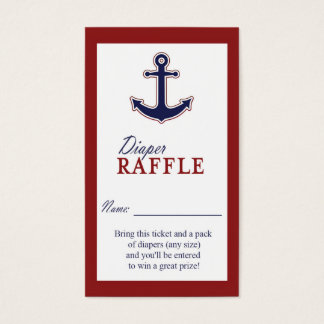 Nautical Anchor Red and Blue Diaper Raffle Ticket
