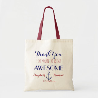 Nautical Anchor Red Blue Thank You Tote Budget Tote Bag