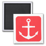 Nautical anchor, red rounded square background fridge magnet