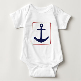 Nautical Anchor - Red White and Blue Baby Bodysuit