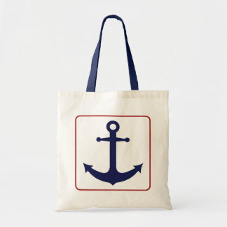 Nautical Anchor - Red White and Blue Budget Tote Bag
