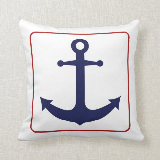 Nautical Anchor - Red White and Blue Throw Pillows